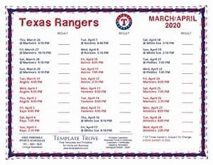 Printable May 2020 Calendar Printable 2020 Texas Rangers Schedule