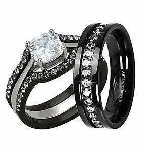 Women S Black Titanium Diamond Rings Wedding Promise