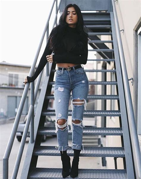 25 stylish winter outfits with boyfriend jeans and sweaters | Damen jeans Mode fu00fcr Frauen und ...