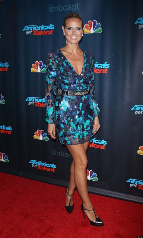 Heidi Klum Plunging Dress Project Runway Star Flaunts