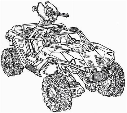Halo Coloring Pages Warthog Vehicle Spartan Helmet