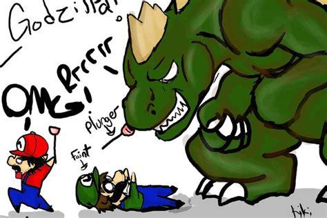 Godzilla Vs Mario And Luigi By Leftinmoonlight On Deviantart