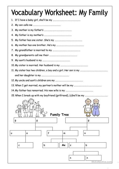 vocabulary worksheet  family medium worksheet