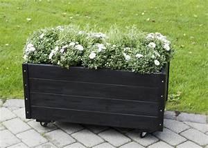 Jardiniere Sur Roulette : jardini re rectangulaire sur roulettes 88x48x47cm bois lasur noir ~ Farleysfitness.com Idées de Décoration