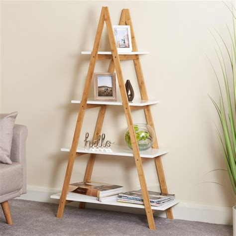 A Frame Bookcase by White And Bamboo Ladder Bookcase 4 Tier Hartleys