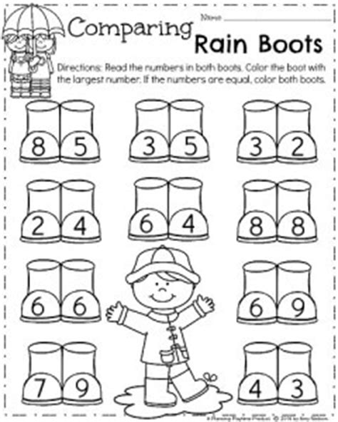 kindergarten worksheets planning playtime 102 | Spring Kindergarten Worksheets for April Comparing Numbers Rain boots. 240x300