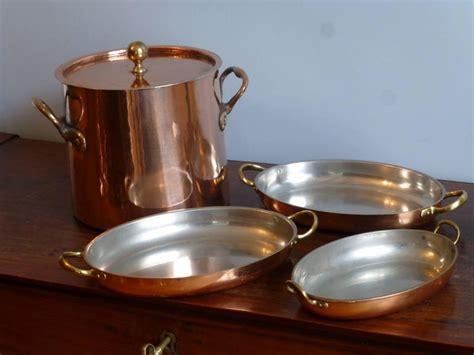 tinned set  copper stock pot  baking pans  sale  stdibs