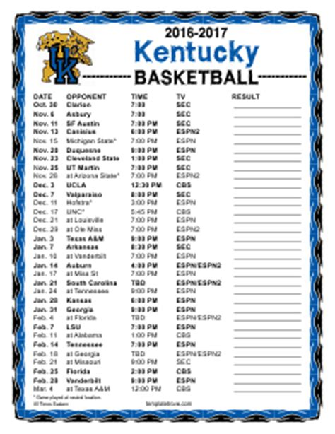 printable   kentucky wildcats basketball schedule