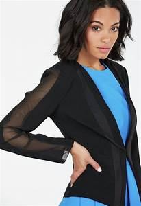 Brust Taille Hüfte Verhältnis Berechnen : mesh detail blazer kleidung in schwarz g nstig kaufen bei justfab ~ Themetempest.com Abrechnung