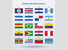 Central And South America Flags Collection Vector Art