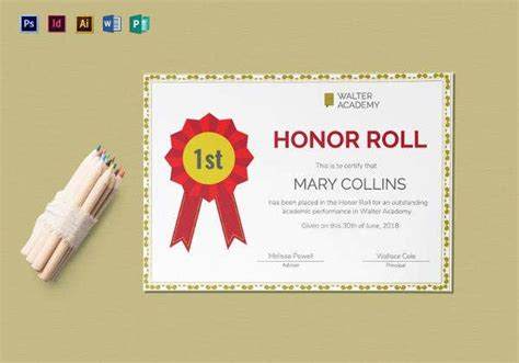 printable honor roll certificate templates samples