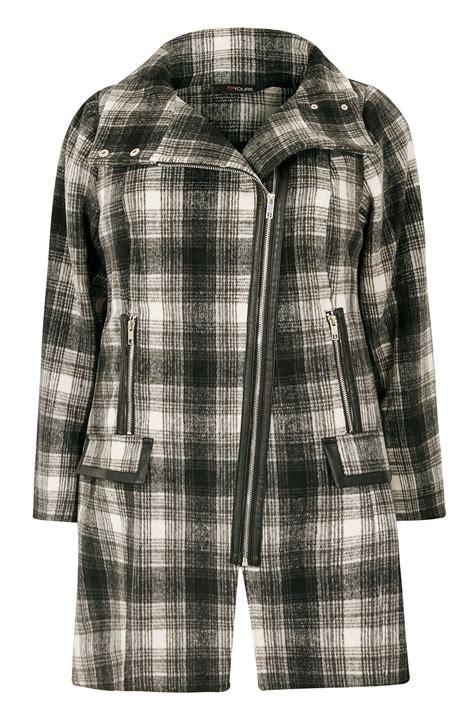 manteau noir blanc 224 carreaux asym 233 trique grande taille 44 224 64