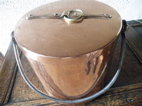 reserved  wade large antique french copper faitout marmite stock pot couldron lbs
