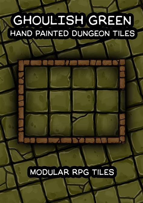 ghoulish green hand painted dungeon tiles robertson