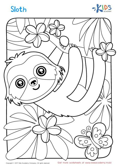 sloth coloring page kay  elliot cool coloring pages