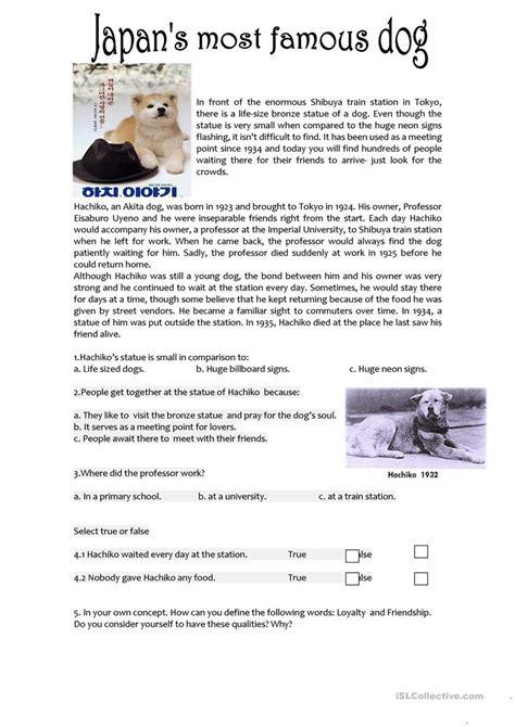 hachiko reading comprehension worksheet  esl