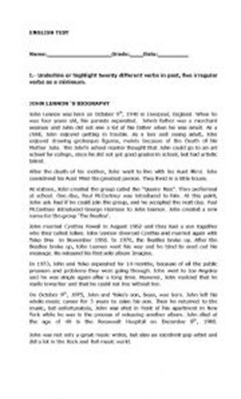 biography reading comprehension test esl worksheet by mojoncilla