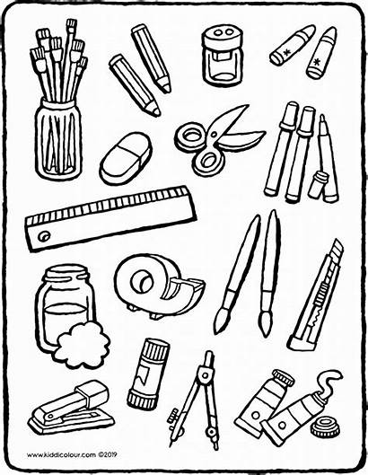 Craft Equipment Colouring Sorts Objects Kiddicolour Drawing
