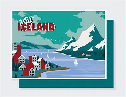 Postkarte Island Vektor Iceland Bearbeiten Clipart Postcard