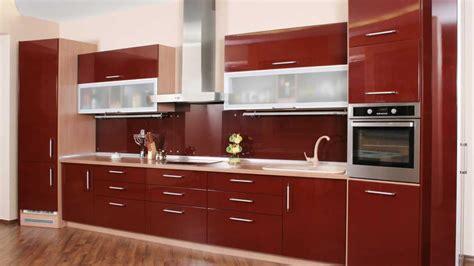 maroon red straight  modular kitchen magick woods