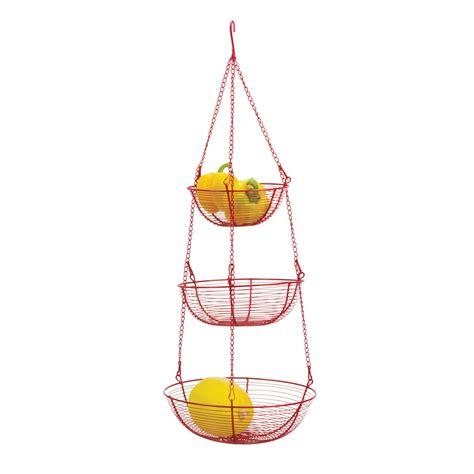 rsvp enameled wire 3 tier hanging baskets