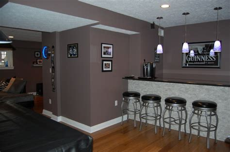 Houzz Living Room Lighting by Basement Remodel To Modern Sports Bar Contemporary