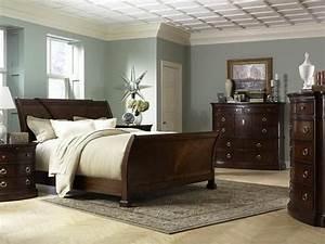 Dreamy blue-grey walls with dark furniture. | Bedroom ...