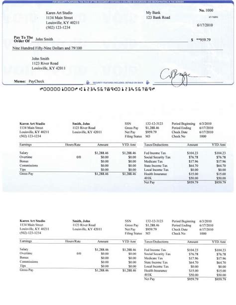 payroll check template template business