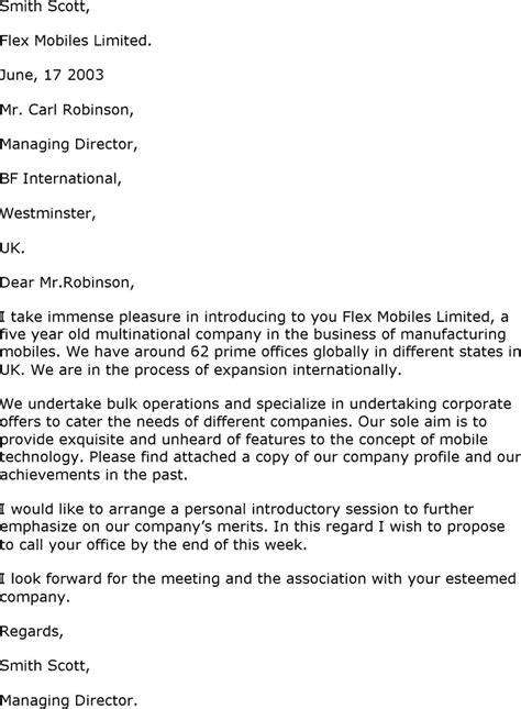 sample business introduction letter  word templates