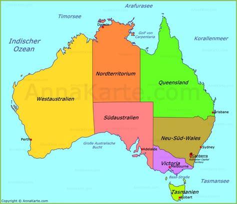 Australien Städte Karte