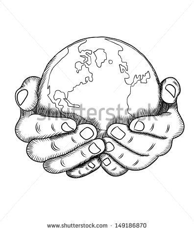 hands holding earth drawing sketch coloring page tats