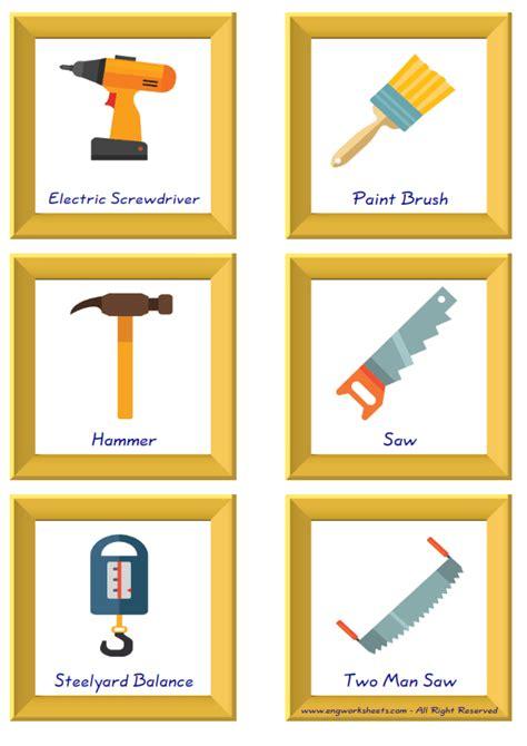 construction tools english worksheet  kids esl