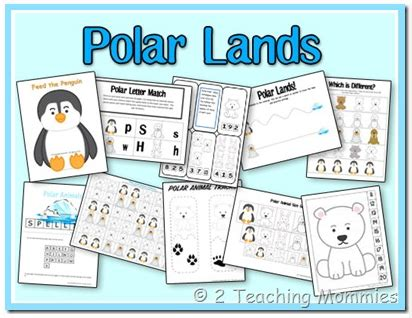 educational freebie polar lands preschool printable pack