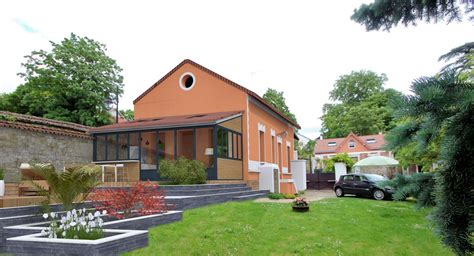 extension cuisine sur jardin réorganisation contemporaine maison étage parental et piscine