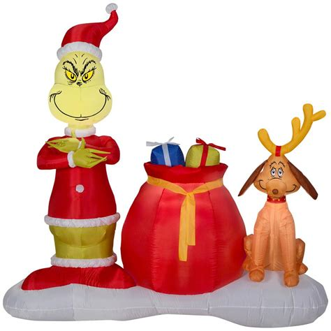 grinch inflatable home accents 10 5 ft santa bowling airblown 36807 the home depot