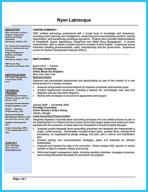 Business Analyst Resume Template by Business Analyst Resume Template Business