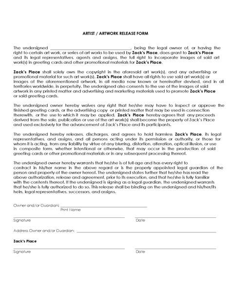 16310 artwork release form 2 21331 work release form 2 sle release forms in doc bond