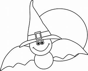 Black and White Bat and Full Moon Clip Art - Black and ...