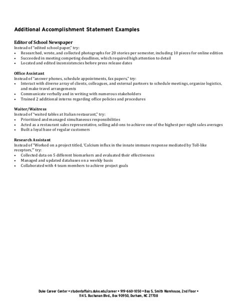 Resume Accomplishment Statements Exles by Exle Accomplishment Statements