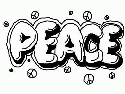 Graffiti Coloring Peace Pages Printable Adults Word
