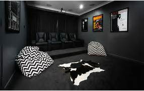 Home Theater As Addition To Large Modern Interior Noir Style With 60W 1 Light Contemporary Fabric Wall Lights In 2 Colors USD CINEAK Fortuny Home Theater Seats Modern Home Theater By CINEAK Home Theater Rooms Room Decorating Ideas Home Decorating Ideas