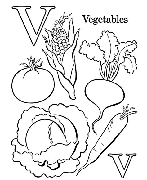 vegetable color pages coloring home