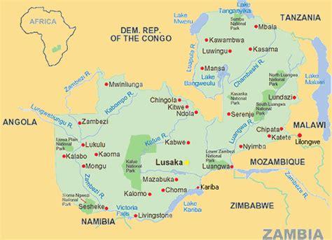 Kaart van Zambia.