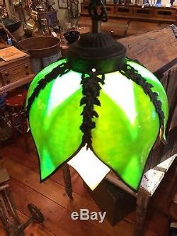 vintage green carmel tulip petal shaped stained glass