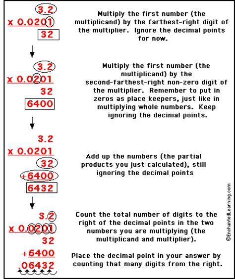 multiplying decimals enchantedlearning
