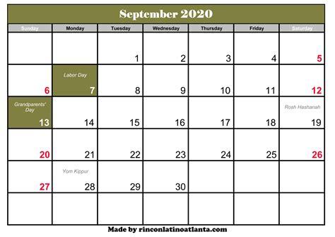 september  calendar  holidays calendar template