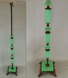 antique art deco jadeite houze slag glass cast iron floor With antique jade floor lamp