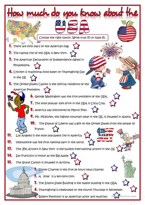 How Much Do You Know About The Usa?  Quiz Worksheet  Free Esl Printable Worksheets Made By