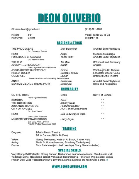theatre resumes theater resume acting template pdf word child actor easy