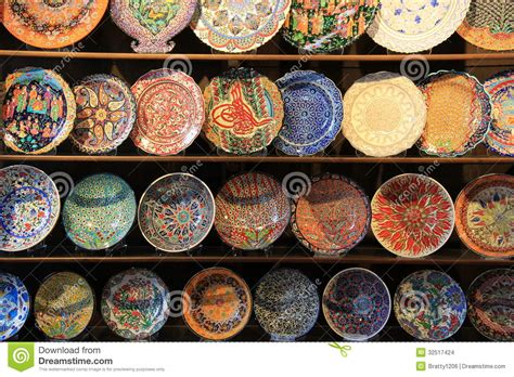 wood shelving  handcrafted decorative plates stock photo image  design ornamental